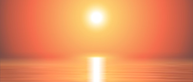 Morze zachód słońca tło spokojne i jasne. morski krajobraz panoramiczny