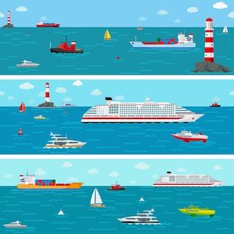Morze ze statkiem. łódź i żegluga, jacht i liniowiec