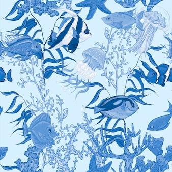 Morze życie bezszwowy wzór, podwodna wektorowa ilustracja