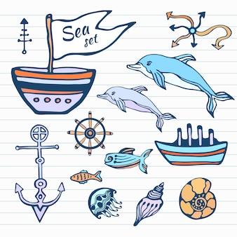 Morze życie szkic ręcznie rysowane doodle zestaw