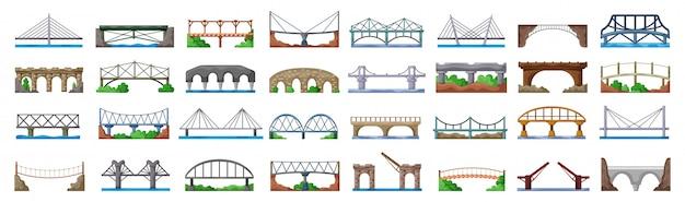Most budowy kreskówka zestaw ikon. kreskówka na białym tle zestaw ikona mostu budowy.