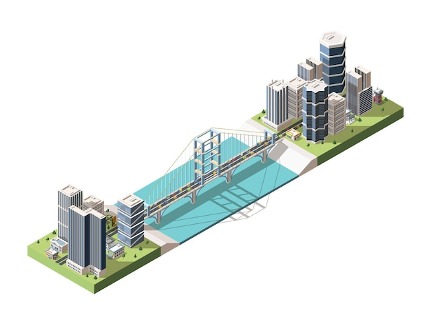 Most łączący dwie części miasta izometryczny. infrastruktura transportowa. wiszący most autostradowy w zatoce rzeki. miejski krajobraz. sceneria megapolis w stylu 3d