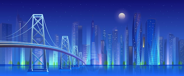 Most miejski nocą, neonowe światło oświetlone nowoczesnym futurystycznym pejzażem z drapaczami chmur
