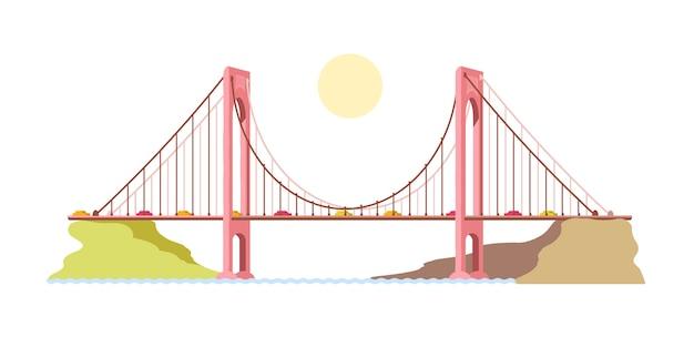 Most na rzece. transport. wybrzeże. ilustracja.