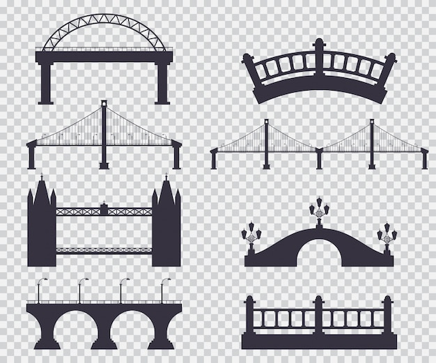 Mosty czarna sylwetka wektor prosty zestaw na białym tle