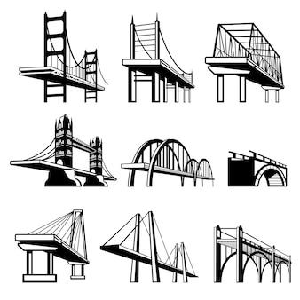 Mosty w perspektywie wektor zestaw ikon. budowa architektury, ilustracja obiektu inżynierskiego struktury dróg miejskich