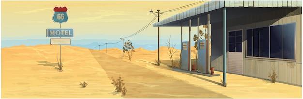 Motel przy drodze ze stacją benzynową.