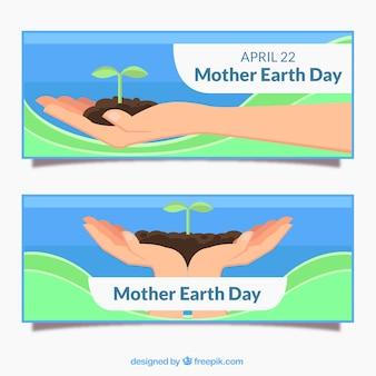 Mother earth day banery w płaskiej konstrukcji