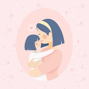 Mother love kiss and hug daughter full of love with pink peach flower backrgound
