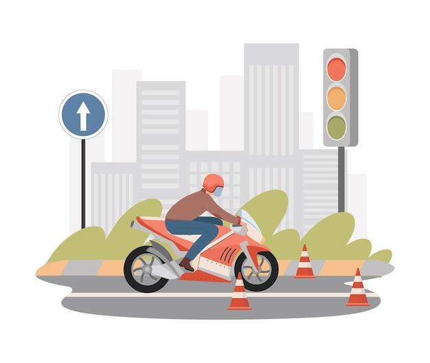 Moto school płaski ilustracja mężczyzna jedzie na motocyklu się uczyć