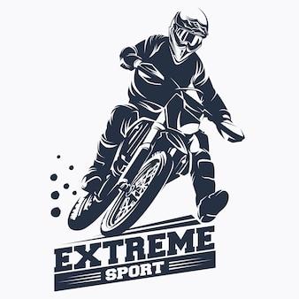 Moto track lub motocross jump logo wektor