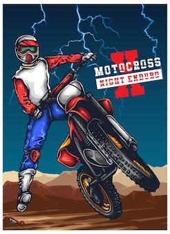 Motocross enduro offroad ilustracji