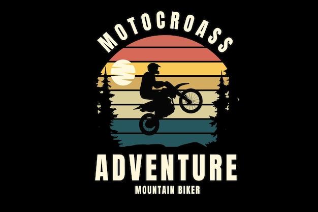 Motocross przygoda rowerzysta górski kolor pomarańczowy żółty i zielony