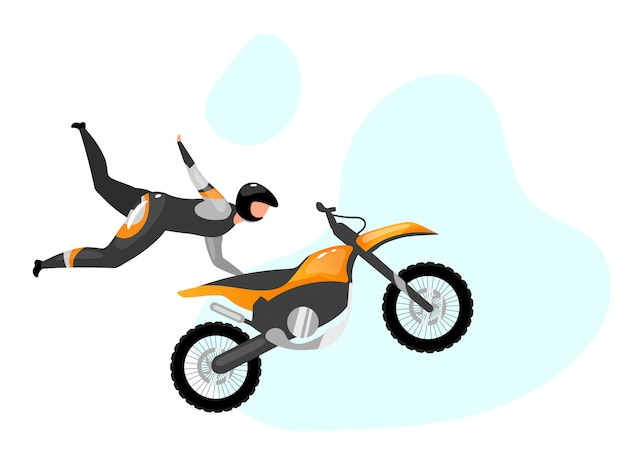 Motocykl akrobacje płaskie ilustracja. sporty ekstremalne. aktywny styl życia. stuntman skoki powietrzne. zajęcia na świeżym powietrzu. jeździec z motocykla na białym tle postać z kreskówki na niebieskim tle