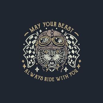 Motocykl bestia vintage ręcznie rysowane ilustracja odznaka