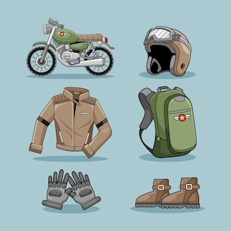 Motocykl cafe racer scenografia wektor kolekcja