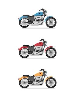 Motocykl cruiser. widok z boku, profil. płaski styl kreskówki