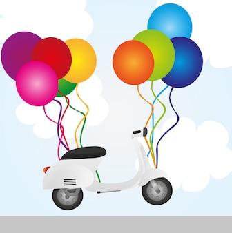 Motocykl i balony na tle nieba wektor