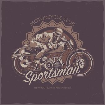 Motocykl motyw ilustracja rowerzysta jedzie na motocyklu vintage