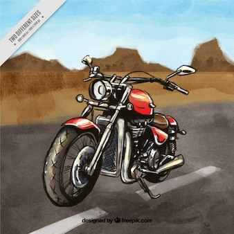 Motocykl na tle drogowego
