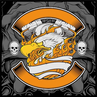 Motocykl orzeł american logo godło projekt graficzny orzeł ilustracja -