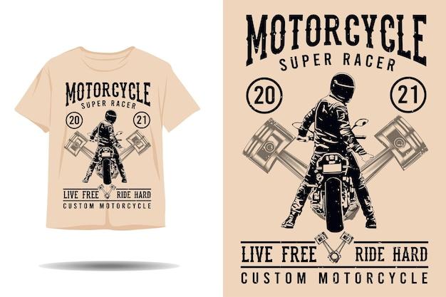 Motocykl super racer na żywo za darmo jeździć na twardą sylwetkę tshirt