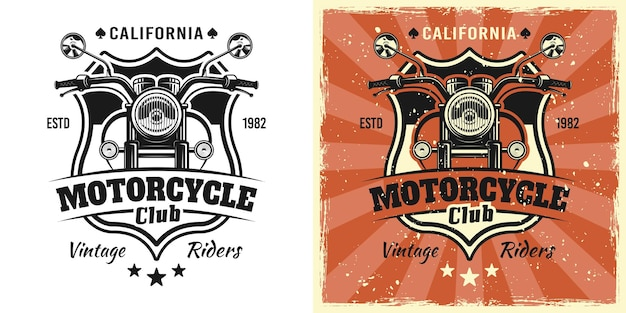 Motocykl widok z przodu wektor godło, odznaka, etykieta, logo lub t-shirt nadruk w dwóch stylach monochromatycznych i vintage w kolorze z wyjmowanymi teksturami grunge