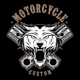 Motocykl wilk z tłokiem ilustracji