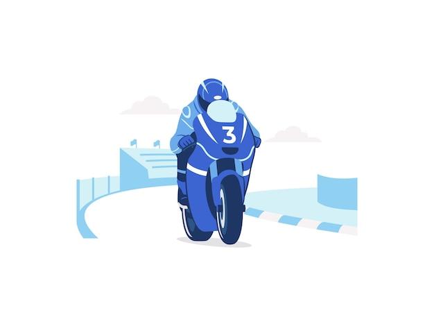 Motocykl wyścigowy szybko przyspieszający na ilustracji koncepcji toru wyścigowego