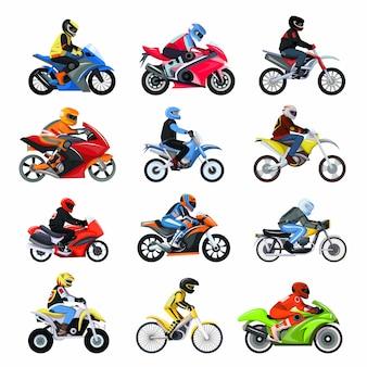 Motocykl zestaw ilustracji na białym tle, różne typy motocyklistów znaków na motocykli sportowych.