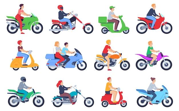 Motocykliści. kierowcy mężczyzn i kobiet w kasku na motorowerze, motocykl. szybka dostawa kurier żywności, rodzina na skuter kreskówka wektor zestaw. postacie kobiece i męskie jeżdżące na rowerze na białym tle