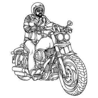 Motocyklista czarno-biały ilustracja