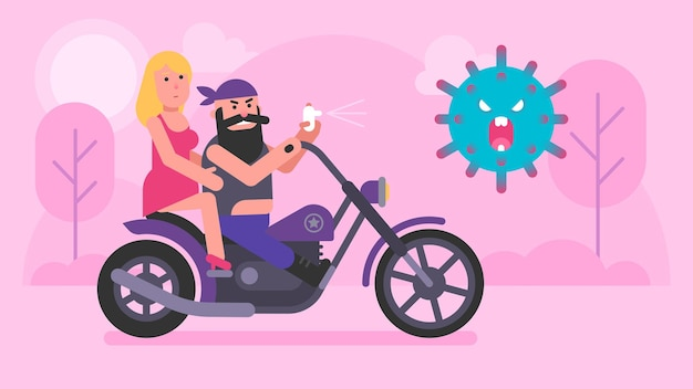 Motocyklista i dziewczyna jeżdżą na motocyklu i przeciw covid-19. ilustracja wektorowa. grafika koncepcyjna