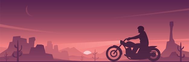 Motocyklista jazda motocyklem w pustynny krajobraz banner