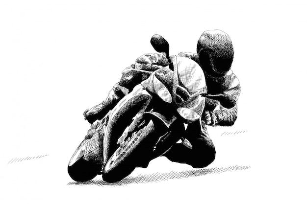 Motocyklista na motocyklu.