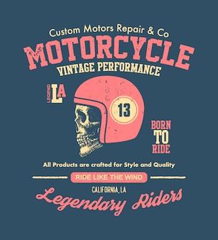 Motorowa czaszka. rowerzysta w stylu vintage. ilustracja