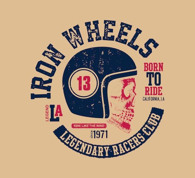 Motorowa czaszka. rowerzysta w stylu vintage.