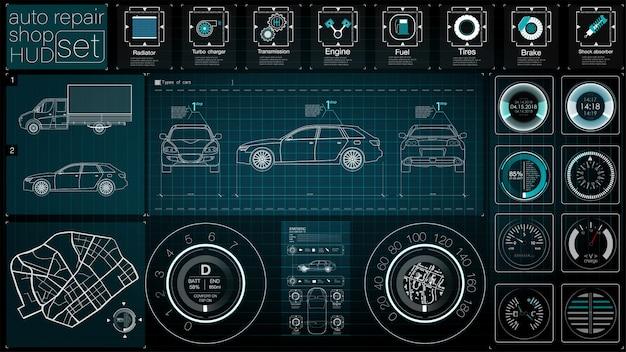 Motoryzacyjny pulpit nawigacyjny przyszłości. samochód hybrydowy. diagnostyka i eliminacja awarii. niebieski. styl hud. wizerunek.