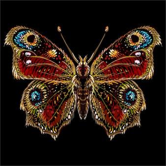 Motyl do projektowania tatuażu lub t-shirtów lub odzieży wierzchniej. śliczny motyl w stylu nadruku.