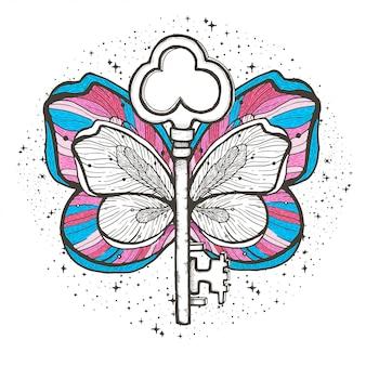 Motyl i klucz magiczna ilustracja