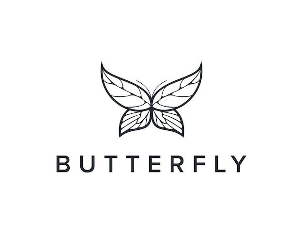 Motyl i liście zarys prosty elegancki kreatywny geometryczny nowoczesny projekt logo