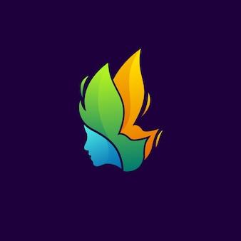 Motyl kobiety nowoczesne logo