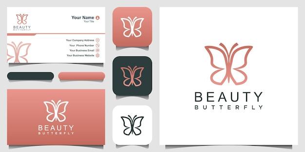 Motyl logo uroda luksusowy styl spa ikona projektowania logo i wizytówka