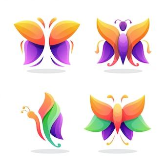 Motyl streszczenie logo wektor