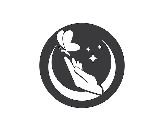 Motyl w ręce logo projekt wektor