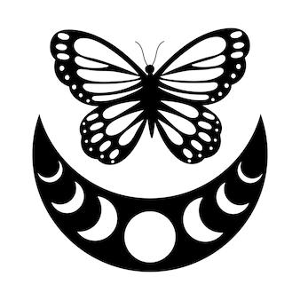 Motyl z fazami księżyca boho moon rysunek konturowy