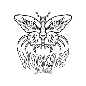 Motyl z głową tygrysa silhoutte