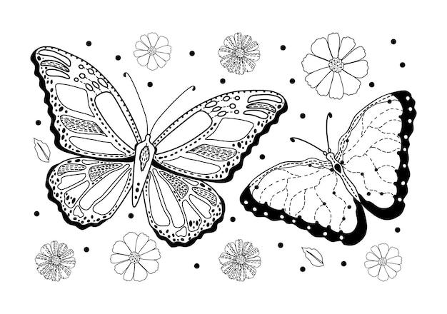 Motyle i kwiaty na białym tle. antystresowa kolorowanka dla dorosłych. ilustracja wektorowa.