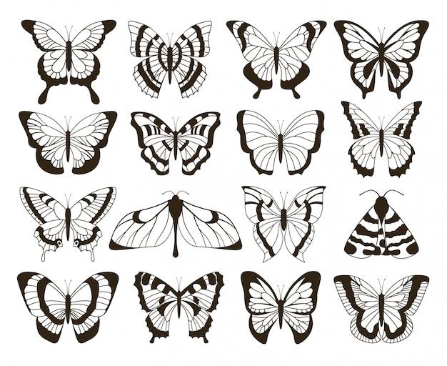 Motyle monochromatyczne. czarno-biały rysunek, ręcznie rysowane tatuaż kształty kolekcji vintage. motyl na białym tle zestaw