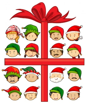 Motyw świąteczny z Mikołajem i elfami